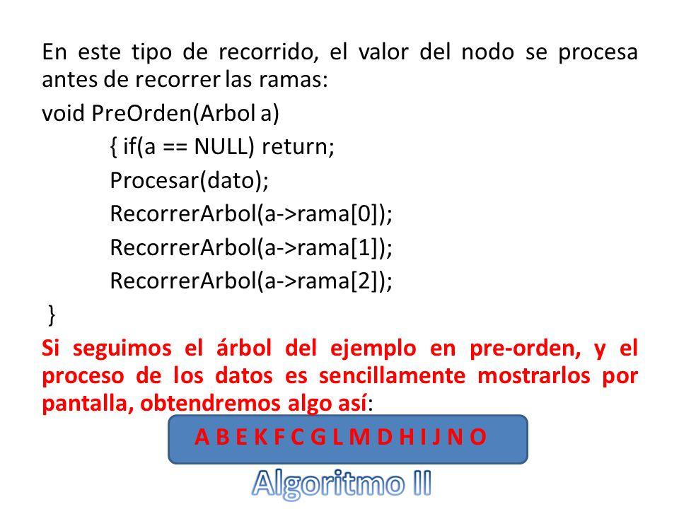 En este tipo de recorrido, el valor del nodo se procesa antes de recorrer las ramas: void PreOrden(Arbol a) { if(a == NULL) return; Procesar(dato); RecorrerArbol(a->rama[0]); RecorrerArbol(a->rama[1]); RecorrerArbol(a->rama[2]); } Si seguimos el árbol del ejemplo en pre-orden, y el proceso de los datos es sencillamente mostrarlos por pantalla, obtendremos algo así: A B E K F C G L M D H I J N O